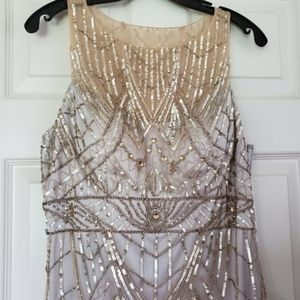 Rare Sue Wong beaded feather dress